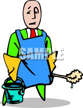 A Cartoon Man With A Bucket And Toilet Brush