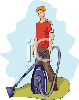A Man With A Vacuum Cleaner
