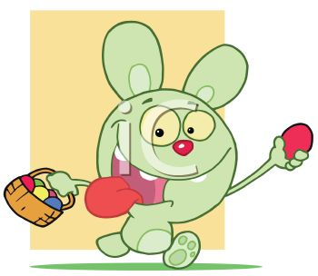 A Happy Cartoon Easter Bunny With A Basket Of Eggs