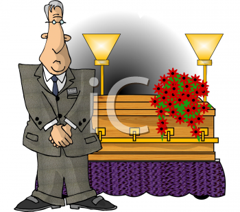 Cartoon of a Mortician Standing by a Casket