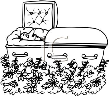 Black and White Cartoon of a Dead Man in His Coffin
