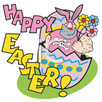 happy easter bunnies. Happy Easter Cartoon with a