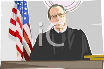 Realistic Style Judge Sitting in Robes on the Bench
