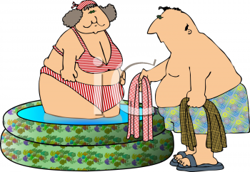 Cartoon of a Fat Couple in a Blow Up Pool