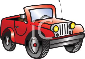 Cartoon of a Little Red Jeep