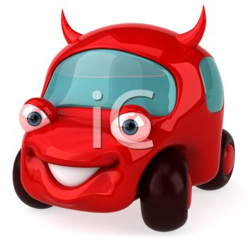 3D Red Car with Horns