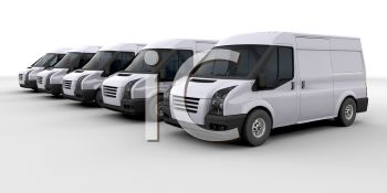 A Row Of Small Delivery Vans