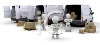 3D Figures Unloading A Fleet Of Delivery Vans