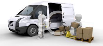 A 3D Figure Loading A Delivery Van While Another Figure Supervises