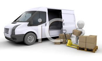 A 3D Figure Loading A Delivery Van