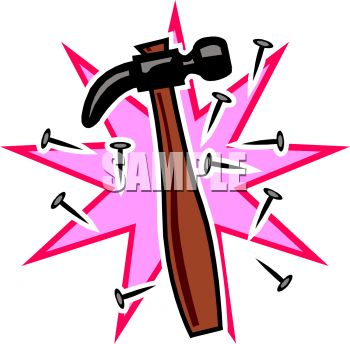 "This ""cartoon hammer and nails"" clipart image is available through a low"