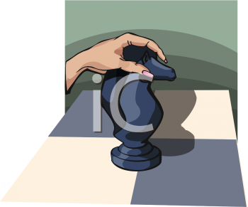 Woman's Hand Holding a Knight Chess Piece