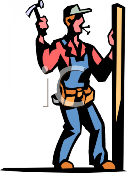 Cartoon of a Builder Hammering Nails Into a Wall