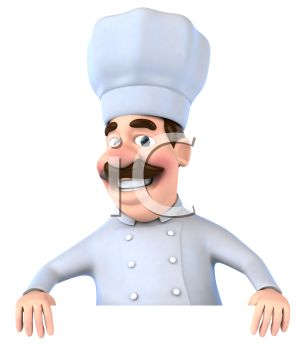 3D Italian Chef Holding a Blank Sign