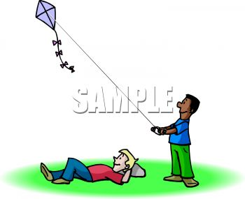Friends Flying a Kite