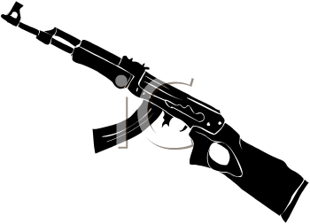 royalty free clip art image silhouette of an ak series assault rifle