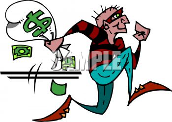 bank robber running away with a bag of money royalty free clipart rh clipartguide com free animated money clipart free animated money clipart