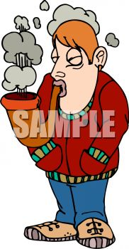 Cartoon of a Guy Smoking a Huge Pipe