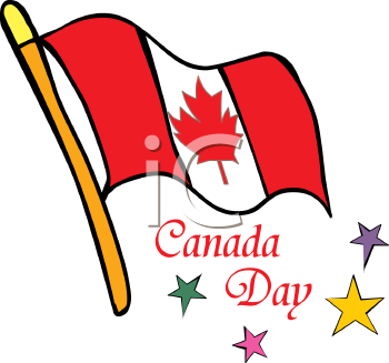 Royalty Free Clip Art Image Canadian Flag with Canada Day Text