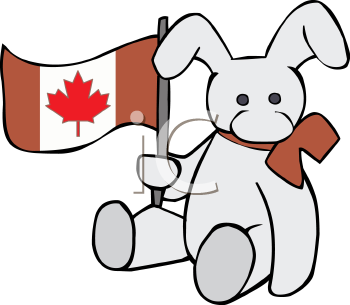 Stuffed Rabbit Holding a Canadian Flag