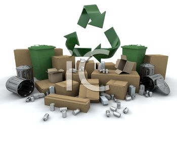 3D Recycling Items-Cardboard Boxes and Tin Cans
