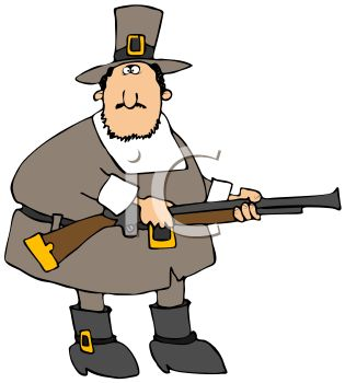 Fat Pilgrim Holding a Musket