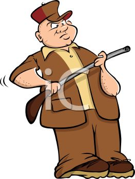 Cartoon of a Hunter Holding a Rifle