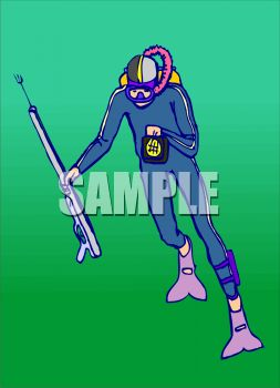 Scuba Diver with a Harpoon Gun