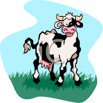 Black and White Cartoon Dairy Cow - Royalty Free Clip Art Illustration