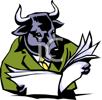 Bull Reading the Stock Market Newspaper