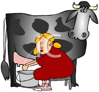 Milkmaid Milking a Cow and Squirting Herself in the Eye
