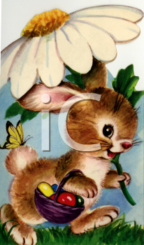 Vintage Easter Bunny Under a Daisy