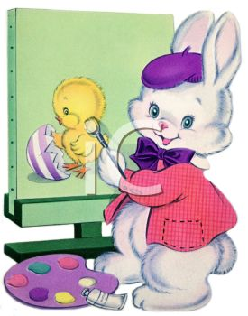 Vintage Easter Bunny Painting a Chick