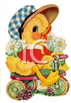 Vintage Duckling Riding a Bike