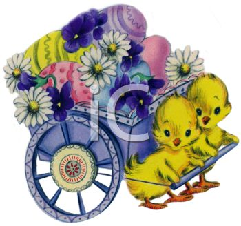 Vintage Easter Chicks Pulling a Flower Cart