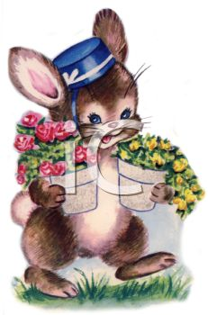 Vintage Easter Bunny Carrying Potted Flowers