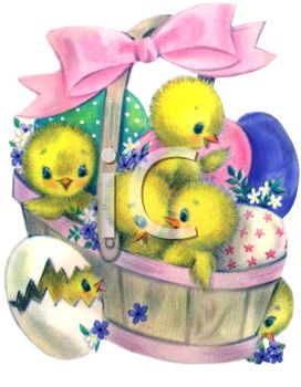 Vintage Easter Basket Full of Chicks