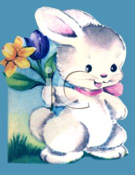 Vintage Easter Bunny Holding Tulips
