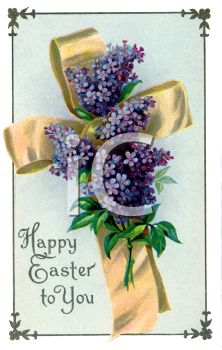 Vintage Easter Cross with Violets
