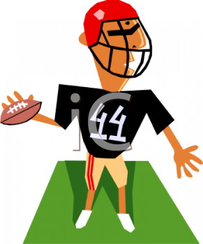 Cartoon of a Guy Playing Football