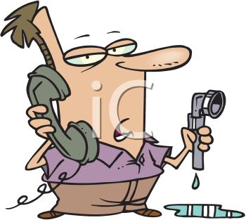Man on the Phone with a Plumber