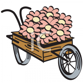 Vintage Flowers in a Wooden Cart