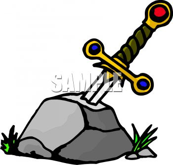 Cartoon of Excalibur Stuck in the Stone