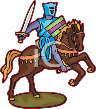 Medieval Knight on His Horse During Battle