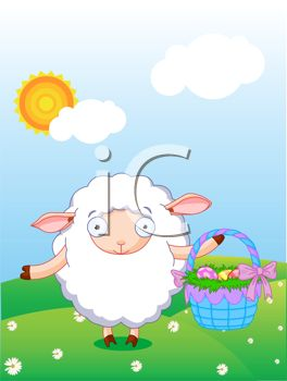 Lamb Holding an Easter Basket