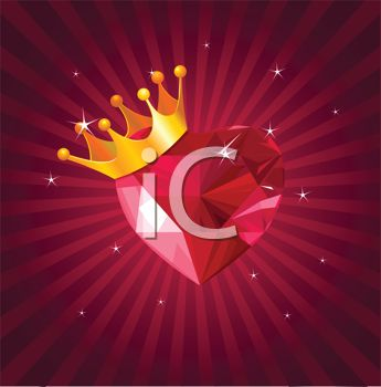Valentine Background of a Crown on a Ruby Heart