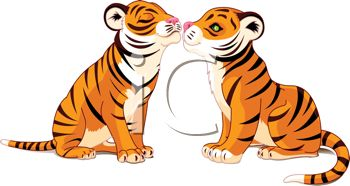 royalty free clipart image kissing tigers rh clipartguide com tigers clipart black and white tiger clipart black and white