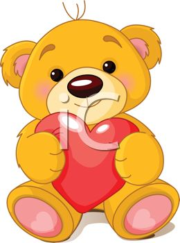 Valentine Bear Holding a Heart