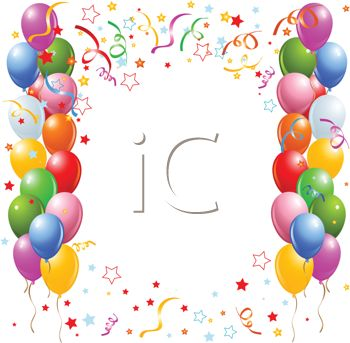 Happy Birthday Background with Balloons and Streamers - Royalty Free ...