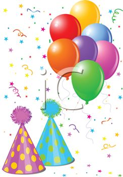 birthday background with balloons and party hats royalty free clip rh clipartguide com Birthday Present Clip Art Free Birthday Hat Clip Art Free